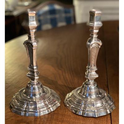 Paire De Chandeliers Louis XV En Métal Argenté