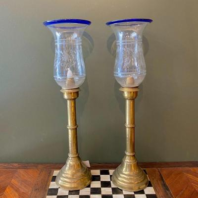 Pair Of Candle Holders In Blown And Engraved Glass With A Touch Of Blue Bronze Foot 19th
