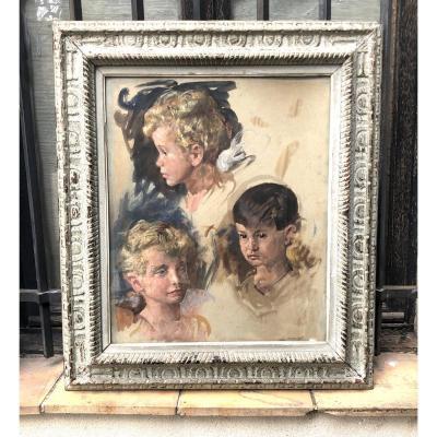 Les Enfants De La Châtelaine Etude Huile Sur Toile Avec 3 Portraits D'enfants  Début 20ème