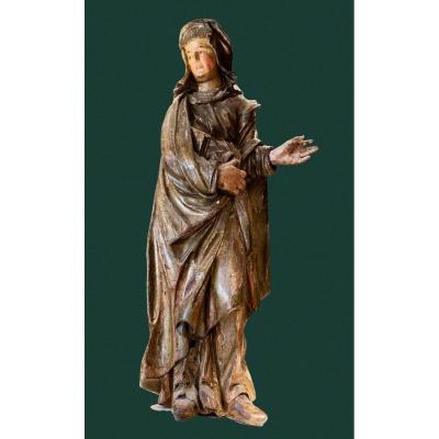 Sainte Anne, Très Belle Sculpture En Bois Polychrome Et Doré - 16ème