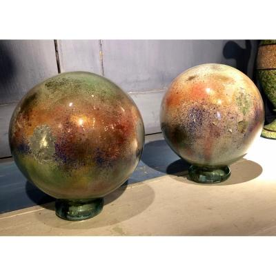 Pair Of Eglomised Glass Wig Balls With Collages 19th