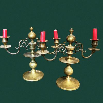 Pair Of Candlesticks Or Candelabra With 2 Bronze Branches, Dutch 19th With Their Beautiful Volutes