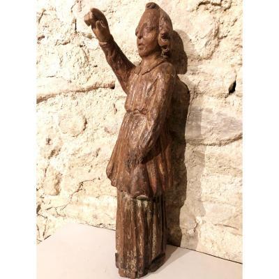 Ange En Chêne Sculpté Fin 16ème