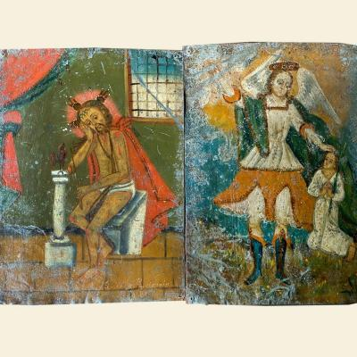 2 Oil Paintings On Sheet Metal, Glued On Wood, South America, Late 19th
