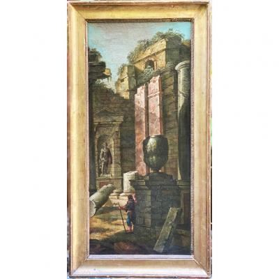 Italian Architectural Caprice, 18th Oil On Canvas With Temple Decorations