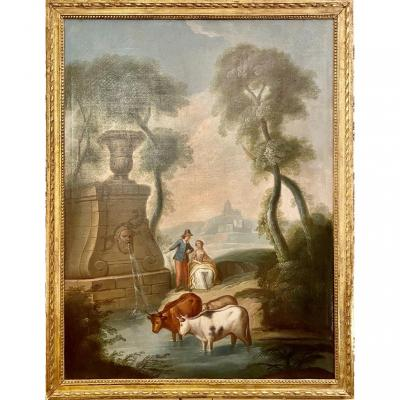 Large Decorative Painted Canvas 18th Animated Pastoral Scene Of Character And Animals