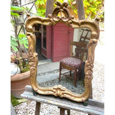 Small Louis XV Mirror Golden Wood 18th