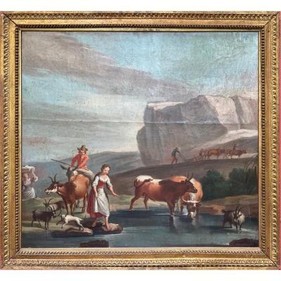 Scène Champêtre 18ème Peinture Décorative Type Trumeau Ou Dessus De Porte De Bonne Qualité