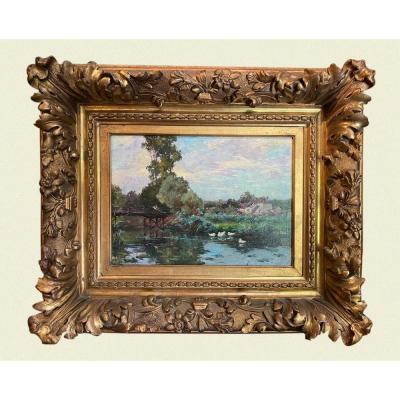 Bord de rivière Huile sur toile post impressionniste 19ème