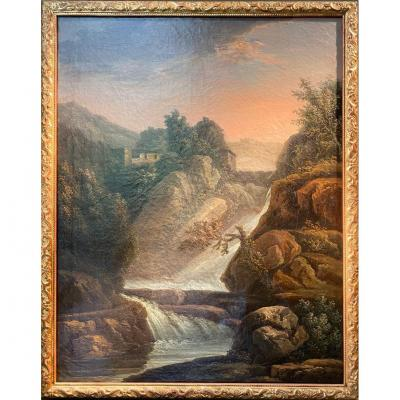 Oil On Canvas, Landscape At The Waterfall, By Jean Antoine Constantin Dit Constantin D'aix
