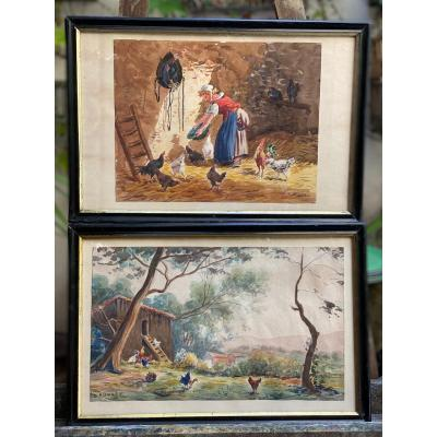 Pairs Of Watercolors Signed Arsène Sauvage, 19th
