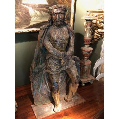 Christ With Links Carved Wood Monoxyle 17th