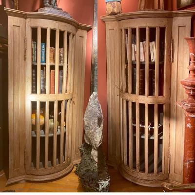 Pair Of Curved Corner Cupboards With 18th Molded Bars And Mounted In Cupboards