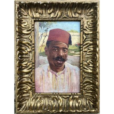 Orientalist Portrait Oil On Cardboard 19th