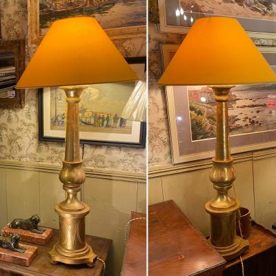 Pair Of Golden Candlesticks Mounted In Lamps