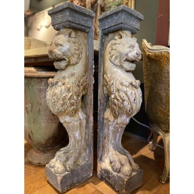 Pair Of Lions Console Support 19th In Terracotta