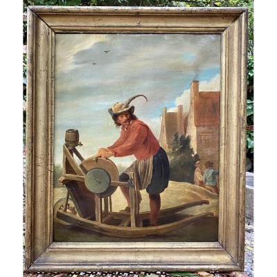 <ul> <li>Flemish painting in the spirit of the 17th century</li> <li>&nbsp;representing a grinder</li> <li>according to David Teniers&nbsp;</li> <li>&nbsp;oil on canvas original 19th frame</li> <li>&nbsp;Gilded wood frame</li> <li>&nbsp;overall dimensions 37cm X 45cm</li> <li>&nbsp;canvas 31cm X 38cm</li> </ul>