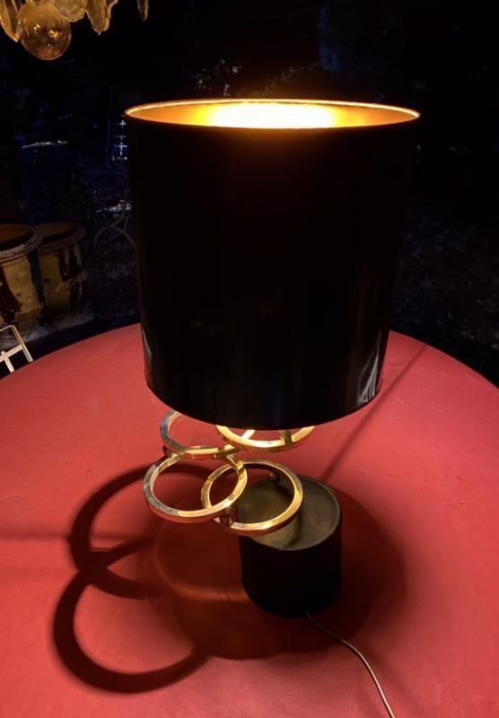 Lampe Design Des Années 70  Sur Un Socle Cuir Noir Avec  Des Anneaux En Laiton Dorés -photo-2