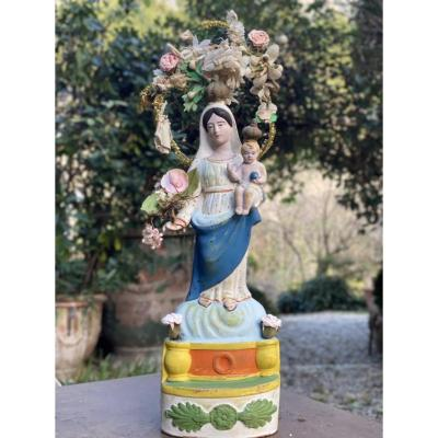 Santibelli Polychrome Virgin Of Marseille Objects Of Religious Art Provence 19th
