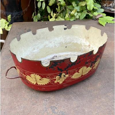 Glass Cooler Glass In Red And Gold Sheet With A Beautiful Patina Louis XVI Decorations - 19th