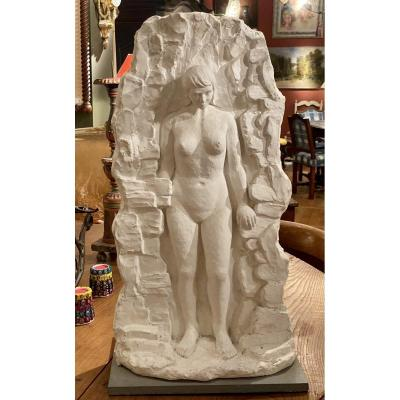 Large Plaster D Artist Of Salon De Provence Representation Of A Woman In Bas Relief In A Standing Position From Head To Toe