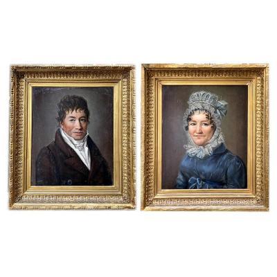 Deux Portraits 1820 Huiles Sur Panneaux