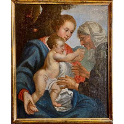 Peinture Vierge à L'enfant Avec St Anne fin 17ème