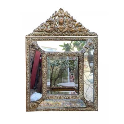 Miroir à Frontons En Laiton Repoussé Style Louis XIV 19ème