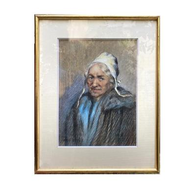 Portrait Of A Comtadine By Georges Breuil Charcoal Drawing Enhanced With Pastel