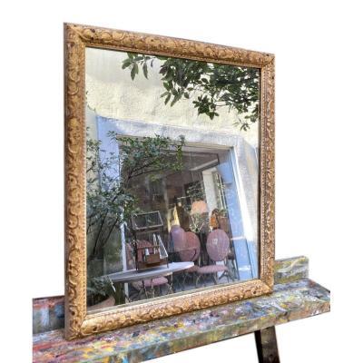 Small 18th Berain Mirror In Golden Wood