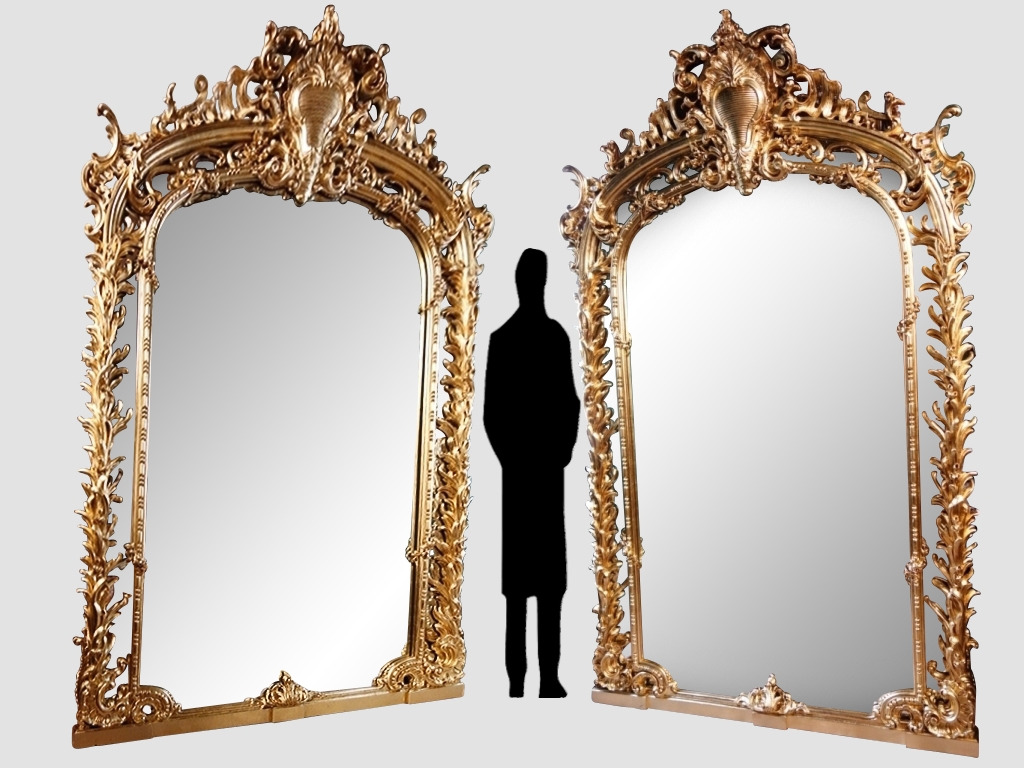 Monumental Pair Of Mirrors In Golden Wood, 243 Cm