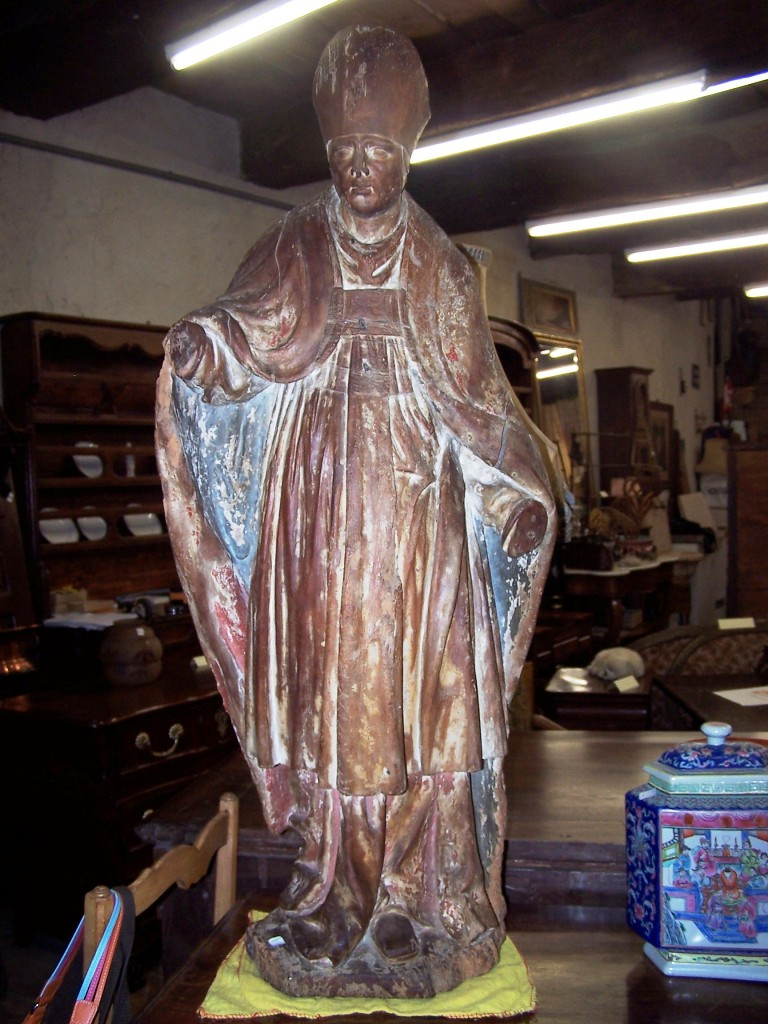 A Large Statue Contained Bishop Wood XVIII Formerly Polychrome