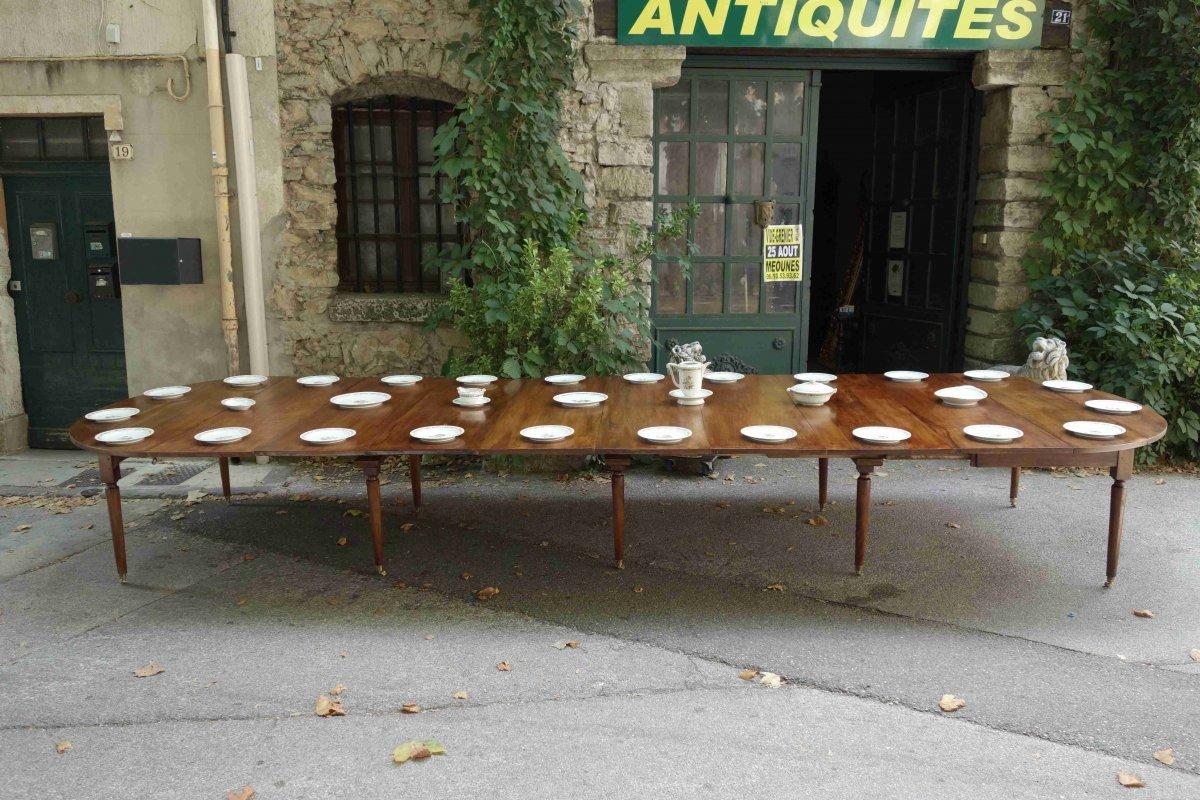 Table De Banquet à 10 Pieds Fuseaux En Noyer, 535 Cm