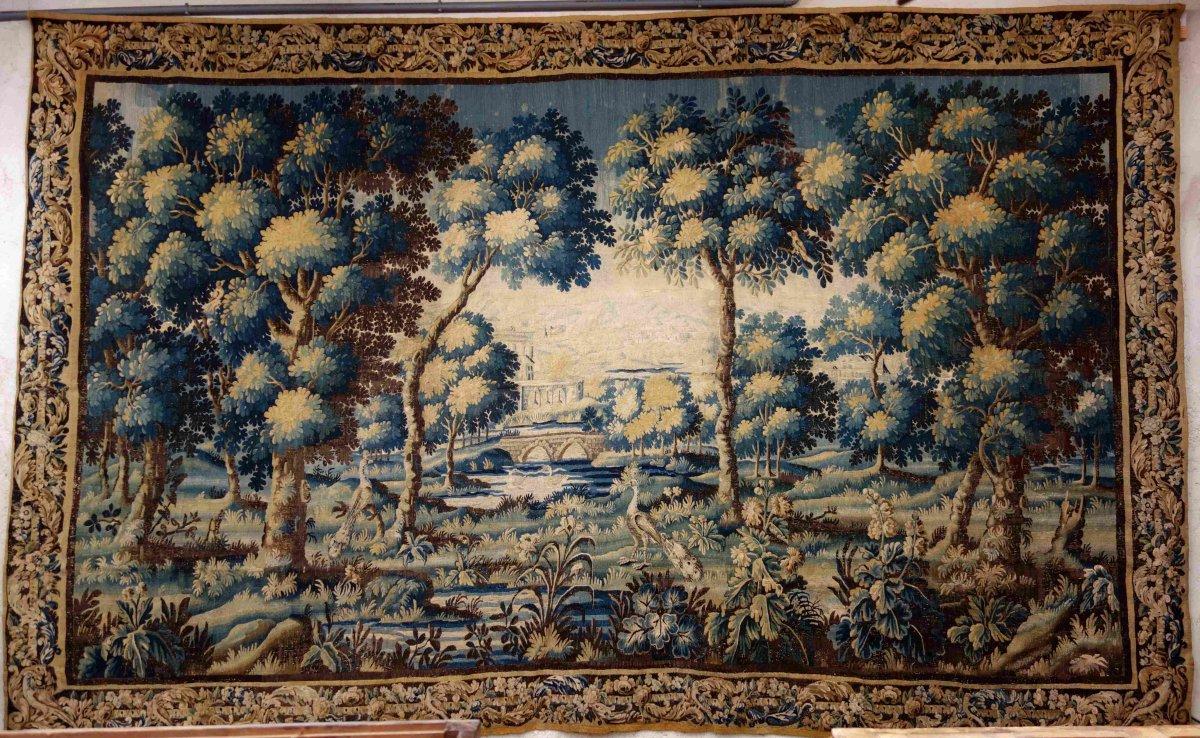 Great Aubusson Tapestry: Peacock Greenery, 450 Cm, XVIIIth Century