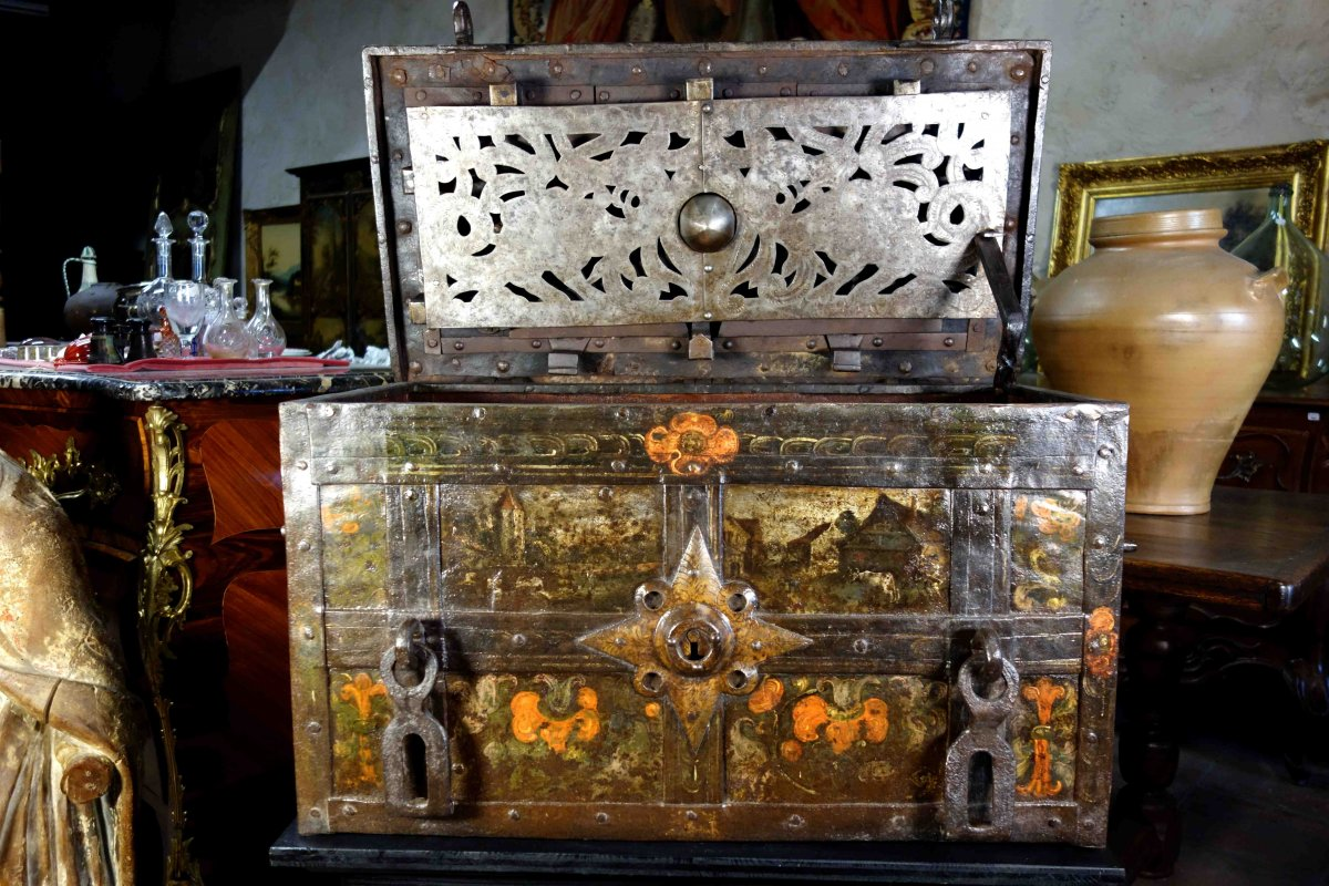 Nuremberg Polychromed Safe With Scenes Of Life, XVIIth