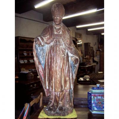 Grande Statue Figurant Un évêque En Bois XVIII Anciennement Polychromée