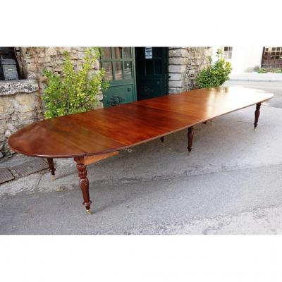 Table De Banquet Restauration / Louis Philippe En Acajou, 440 Cm
