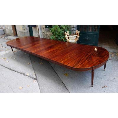 Importante Table De Banquet En Acajou De Cuba, 6 Mètres Environ, Fin XVIIIe