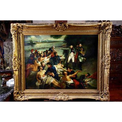 Charles Meynier (d'après) : Grand Tableau De Napoléon Après La Bataille D'essling, 160 Cm