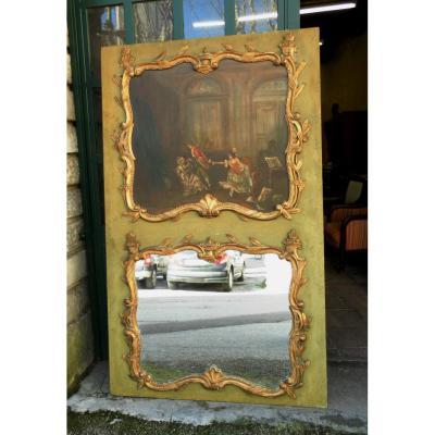 Trumeau Louis XV, XIXe bois doré et huile sur toile