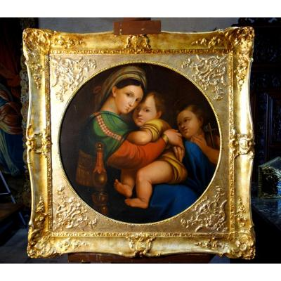 Grand Tondo : La Vierge à La Chaise D'après Raphaël, école Italienne