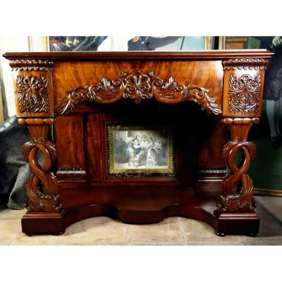 Mahogany Cuban Dolphin Wedding Console, Empire Period