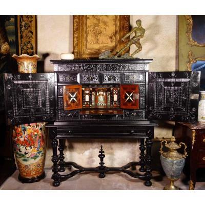 Ebony Cabinet With Scenes From The Holy Family, XVIIth Century