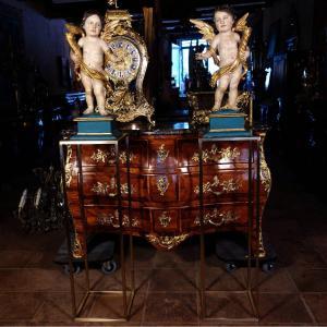 Paire D'anges Céroféraires En Bois Polychrome Sur Sellettes, Fin XVIIIe
