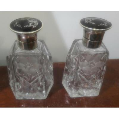 Pair Of Crystal And Silver Bottles