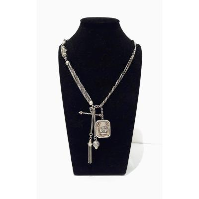 Antique Silver Necklace With Photo Frame Pendant