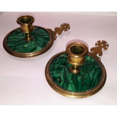 Old Pair Of Bronze And Malachite Candlesticks