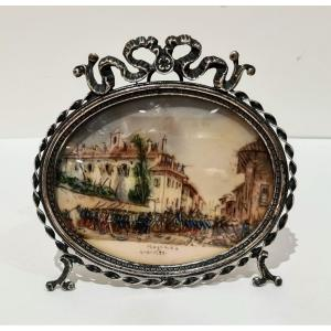 Painted Battle Miniature With Silver Frame