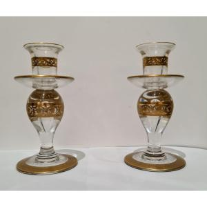 Pair Of Saint Louis Candlesticks In Crystal And Gold