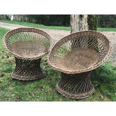 Pair Of Wicker Armchairs